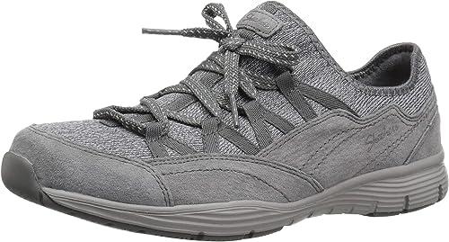 Skechers Women/'s Seager-Zip Line-Fixed Bow Quarter Fit Slip-on Sneaker