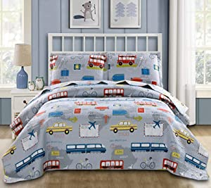 Lightweight Quilts Set Multi-Color Traffic Bedding Twin Size,3Pcs Kids Summer Bedspreads Car Taxi Bus Airplane Train Bicycle Printed Bedding Boys Holiday Coverlet Sets