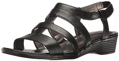 LifeStride Women's Myleene Wedge Sandal, Black, ...