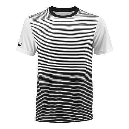 Wilson Camiseta deportiva de hombre, M Team Striped Crew, Poliéster, Negro/Blanco