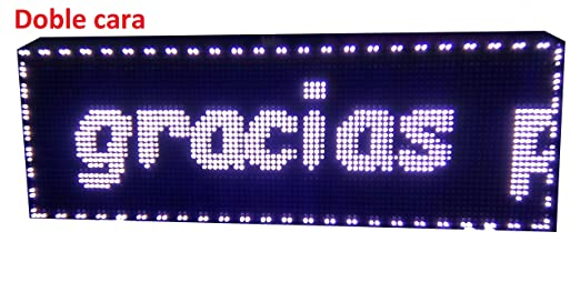 CARTEL LED PROGRAMABLE LETRERO LED PROGRAMABLE PANTALLA LED PROGRAMABLE (96*32 cm doble cara, BLANCO) ROTULO LED PROGRAMABLE CARTEL ELECTRÓNICO ...