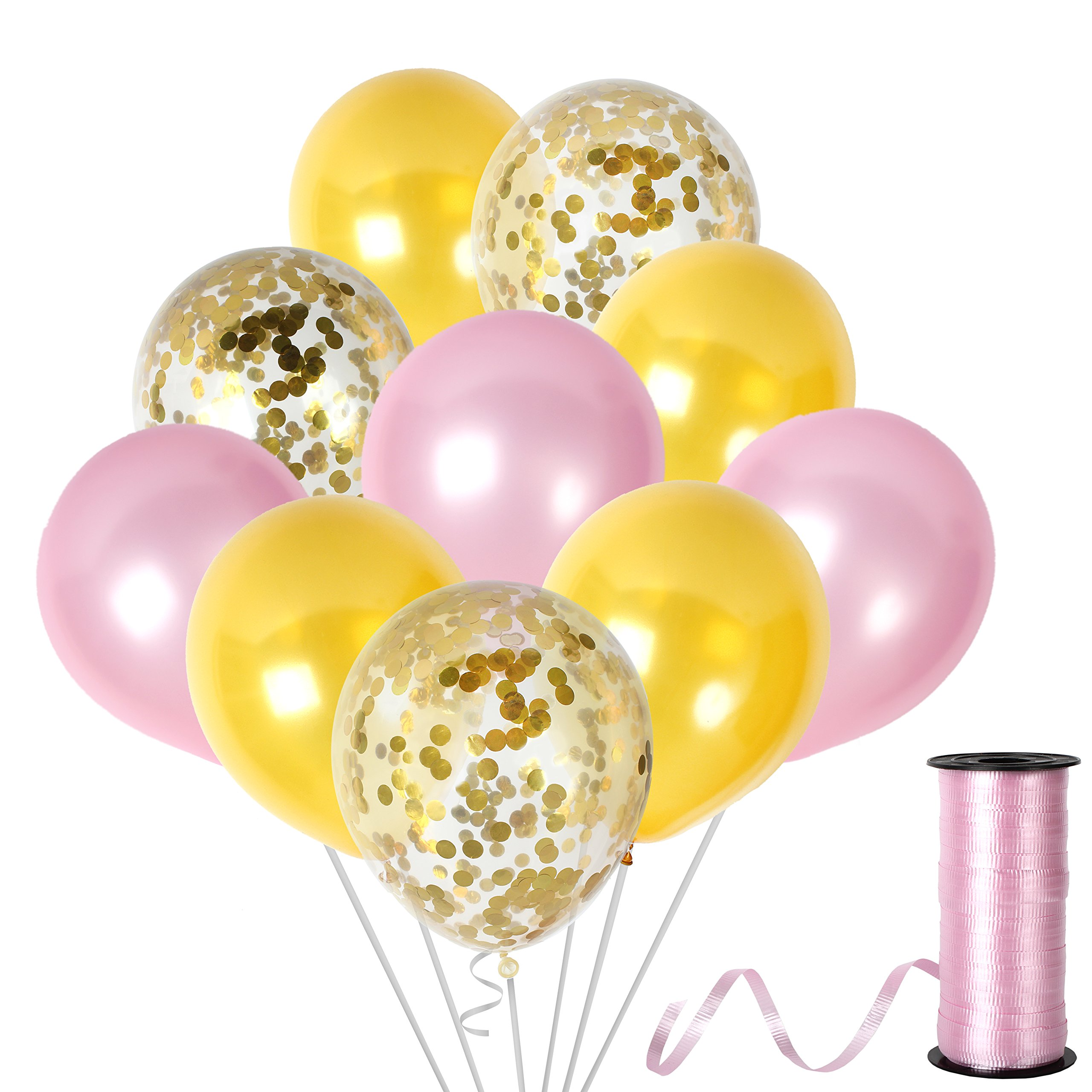 Amazon.com: 12 Inch Light Baby Blue and Gold Confetti Balloons Party ...