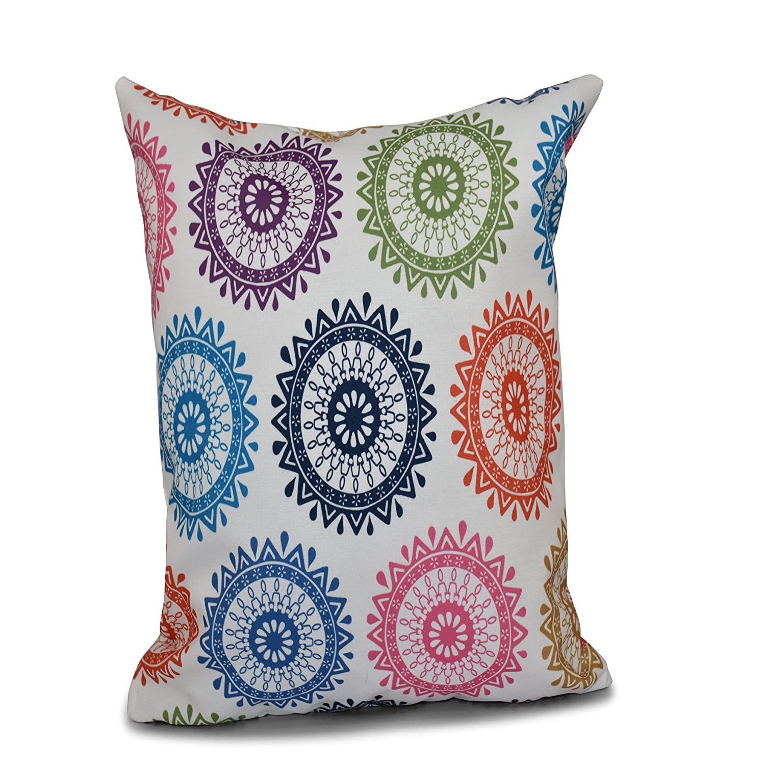 E by design PGN549BL14-18 18 x 18-inch, Groovy, Geometric Print Pillow 18x18 Blue