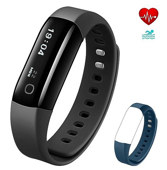 Vigorun 4 Pulsera Inteligente IP68 Impermeable Fitness Tracker Rastreador de Actividad Pulsómetro Podómetro SMS/SNS Notificación, para Hombre y Mujer: ...