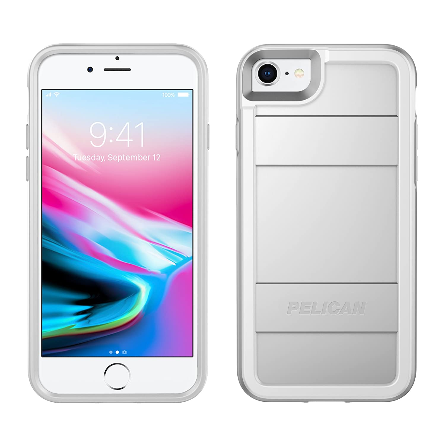 iPhone 8 Case | Pelican Protector Case - fits iPhone 6/6s/7/8 (Metallic Silver)