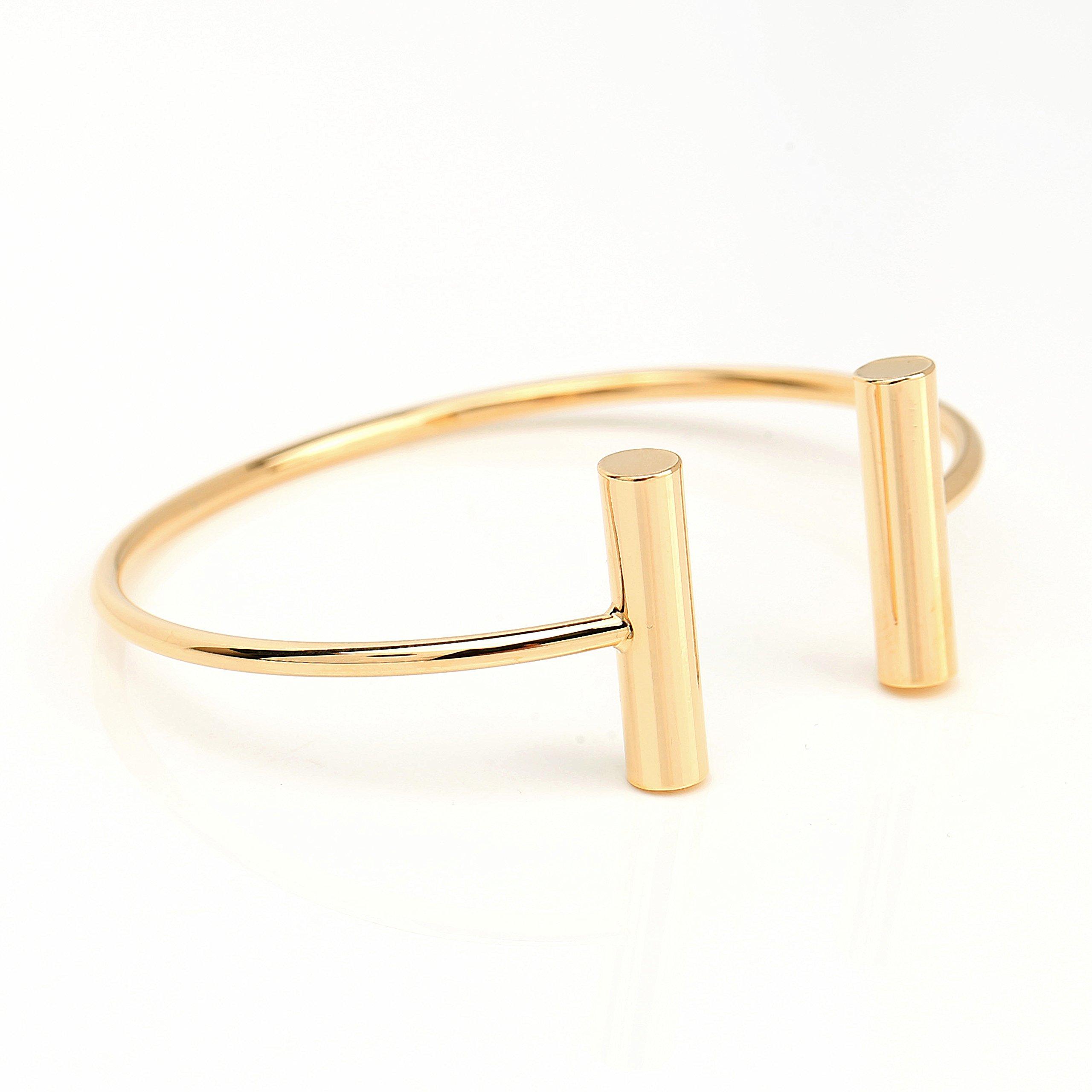 United Elegance Stylish Designer Bangle Bracelet with Contemporary T-Bar Design by United Elegance (Image #3)