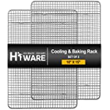 """Hiware 2-Pack Cooling Racks for Baking - 10"""" x 15"""" - Stainless Steel Wire Cookie Rack Fits Jelly Roll Sheet Pan, Oven Safe fo"""