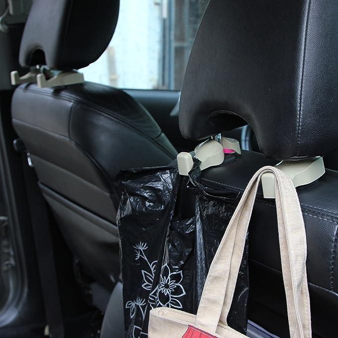 FLYN 4/packs universal Auto Veh/ículo Asiento Trasero reposacabezas perchas Hanger Soporte colgador gancho para ropa Alimentos bolso Beige
