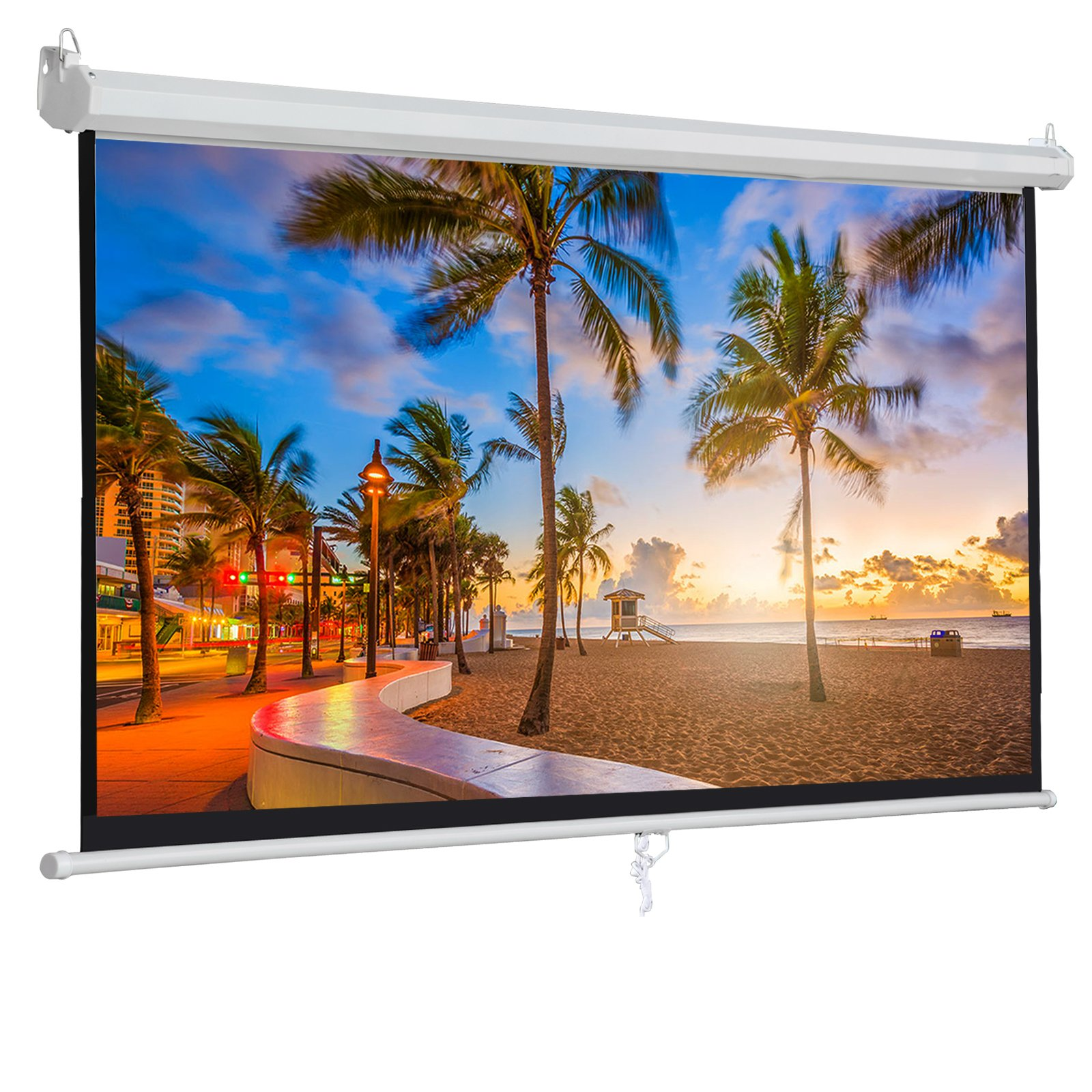 ZENY 100'' Projector Screen 16:9 HD Projection Manual Pull Down Portable Foldaway Movie Home Theater Projector Movies Outdoor Screen (100,16:9) by ZENY