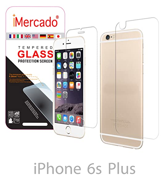 the best attitude d284a 40418 Screen Protector iPhone 6s Plus 6 Plus iMercado (Pack of 2, Tempered Glass,  Front and Back)