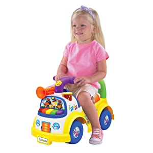Little People Fisher-Price Music Parade Ride-On, Plays 5 Marching Tunes & Other Sounds! Perfect for Toddler Boys & Girls Ages 1, 2, & 3 Years Old - Helps Foster Motor Skills