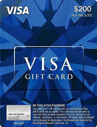 Amazon.com: Tarjeta de regalo de Visa de $200 (más $6.95 de ...