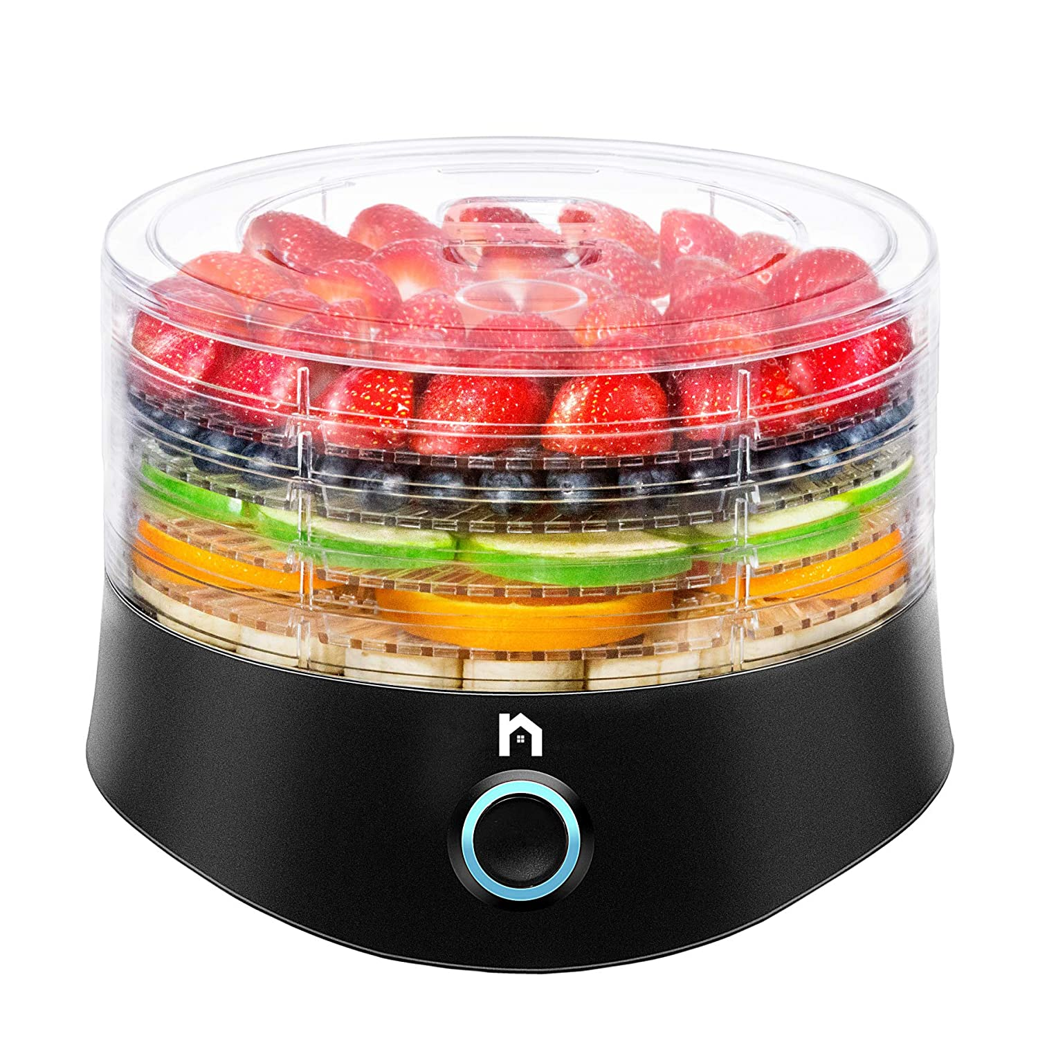 New House Kitchen 5 Round Dehydrator BPA-Free Stackable Transparent Trays Electric Professional Multi-Tier Food Preserver, Beef Jerky Maker, Fruit & Vegetable Dryer, Compact Black