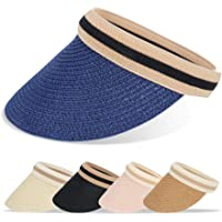 BLURBE Sombreros de Playa - ala Grande Sombreros de Golf Verano con Grande Mujer Tapa de Paja, Gorra de Sol Visor Gorras…