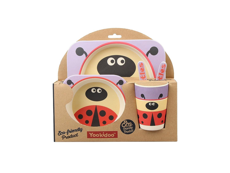【限定価格セール!】 5点セット (複数デザイン) – とてもかわいい動物テーマの子供用食器セット – – 環境に優しい竹 – BPAフリー B01N7BRY3T (複数デザイン) Lady Bug B01N7BRY3T, ハシマグン:a5932994 --- a0267596.xsph.ru