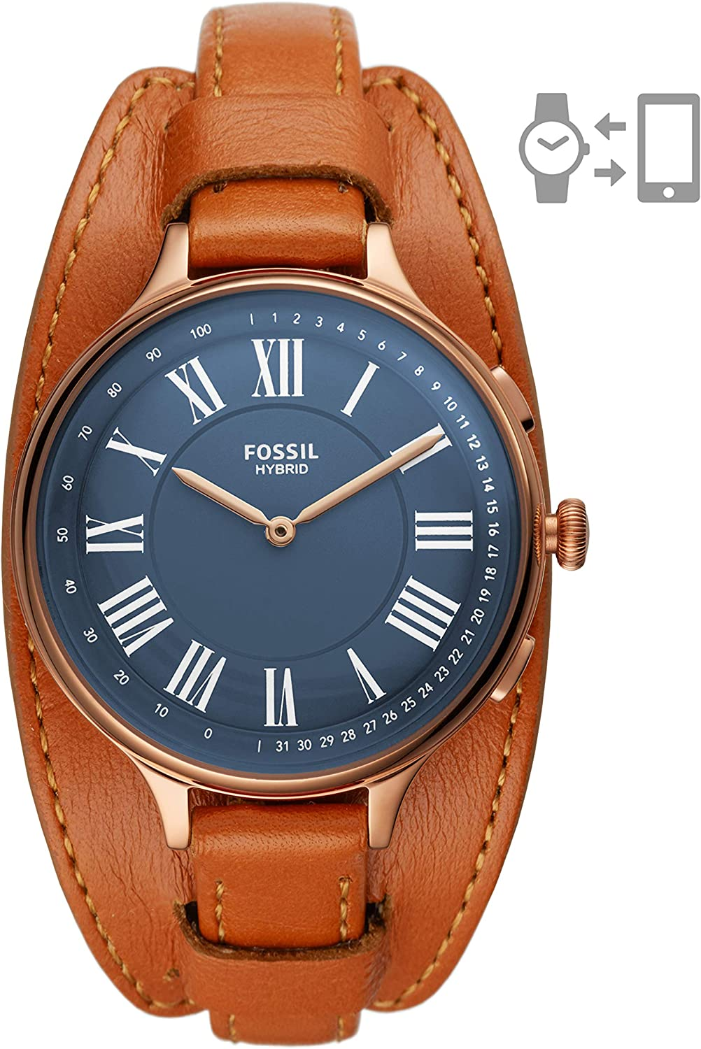 Fossil Women's Eleanor Stainless Steel and Leather Hybrid Smartwatch with Activity Tracking and Smartphone Notifications Rose Gold/Tan
