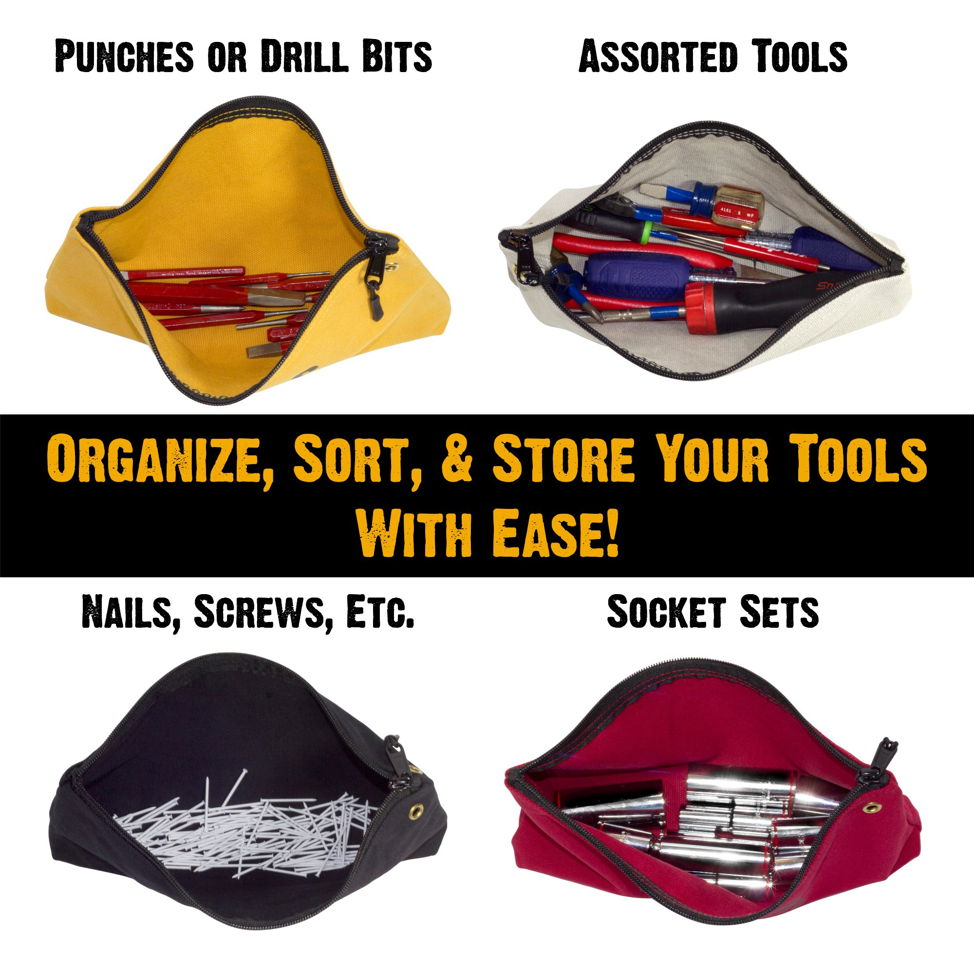 Bad Ass Work Gear   4-Pack of Heavy Duty 20 oz. Canvas Zipper Tool Bags in 4 colors   Toughest Utility Bag by Bad Ass Work Gear (Image #2)