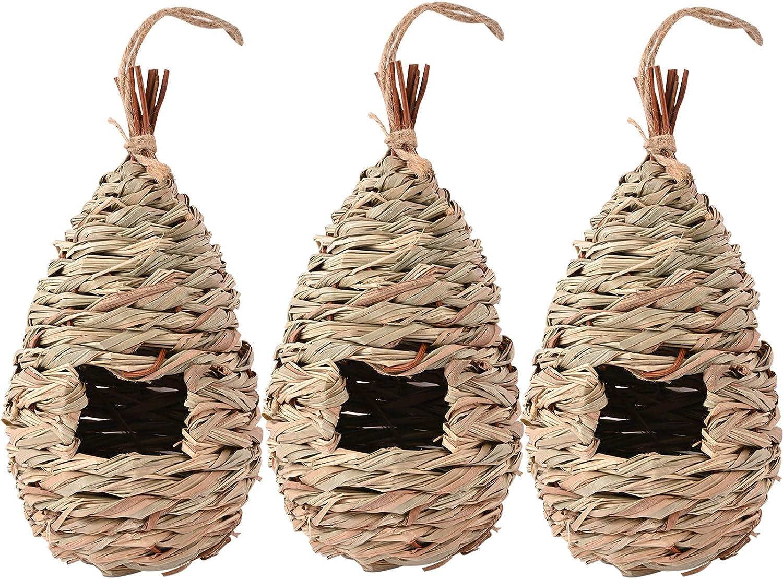 Mrs.keng Humming Bird Houses for Outdoor Hanging, Natural Grass Hanging Bird housenest, Hand Woven Hummingbird Nest, Large Wren Finch Bird House for Garden Window Outdoor Home, 3 Pack