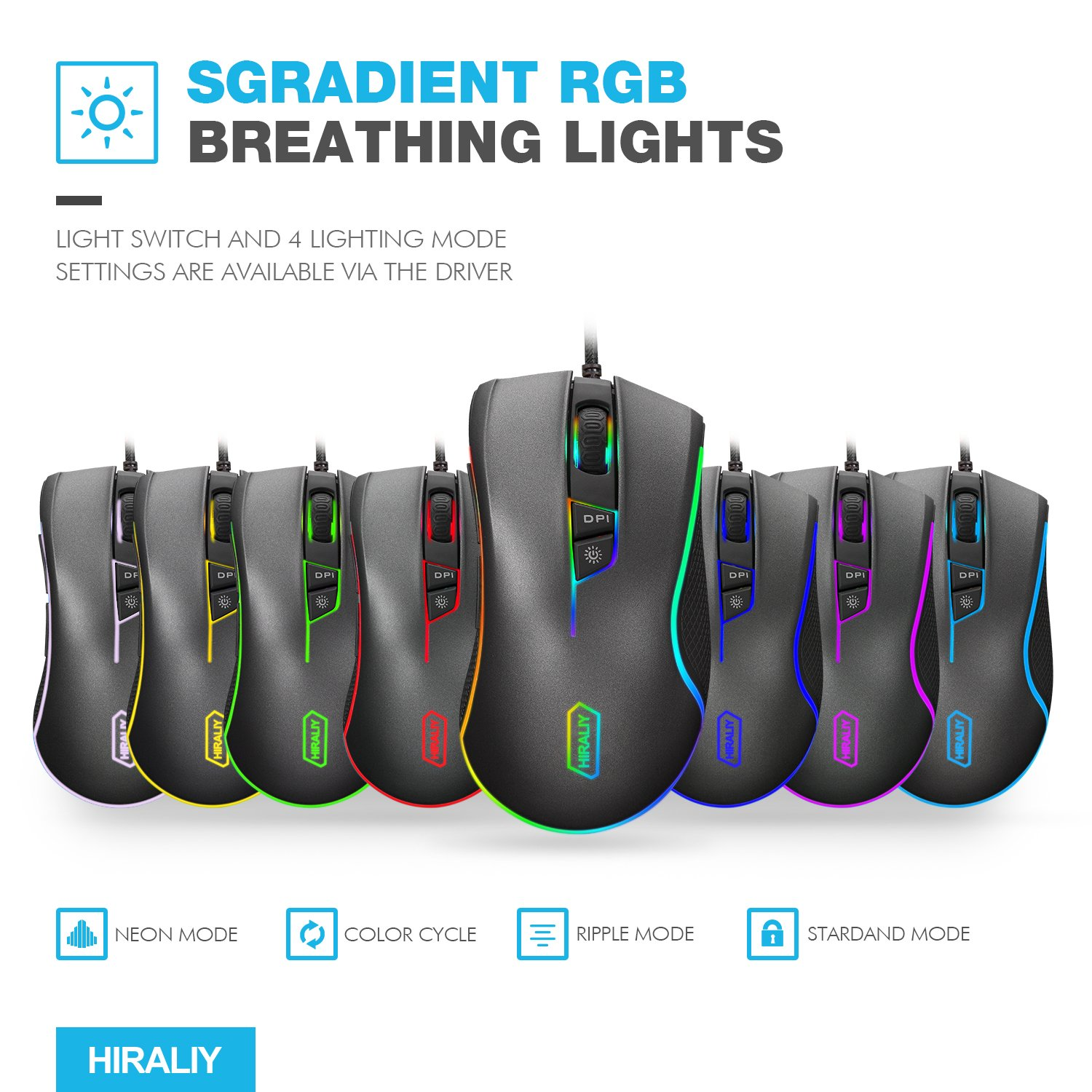 Amazon HIRALIY F300 Gaming Mouse Wired 9 Programmable Buttons Chroma RGB Backlit PMW3325 Professional Gaming Chip 5000 DPI Adjustable Black puters