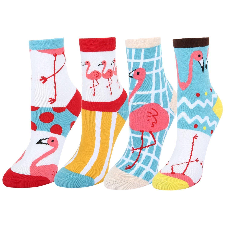 Women's Novelty Crazy Pink Flamingo Crew Socks,Funny Tropical Animal Dress Socks 4 pack