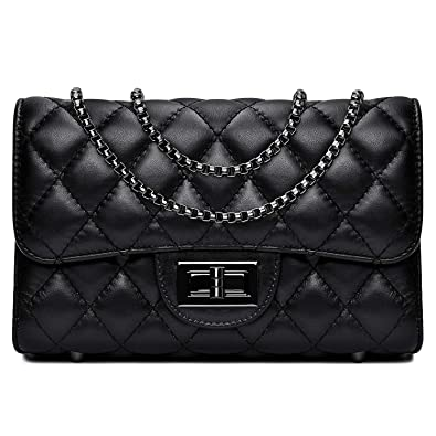 f07df5f46e4 Amazon.com  Women Quilted Crossbody Bag Genuine Leather Clutch Purse with  Chain Strap Ladies Small Shoulder Handbags - Black  Shoes