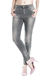 Blue Monkey Damen 78 Cropped Boyfriend Jeans Sina 1464 Star