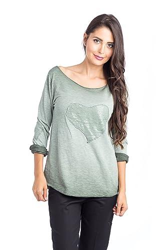 Abbino 7882 Basics Camisetas Tops Camisas para Mujer - Hecho en ITALIA - 4 Colores - Verano Otoño En...