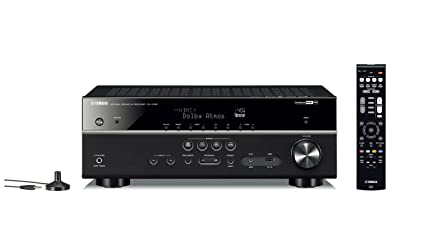 Yamaha 115W RX-V 585 7 2 AV Receiver with Dolby Atoms, DTS-X, Bluetooth,  Wi-Fi, AirPlay, 4K Ultra, MusicCast Surround (Black, RXV585)