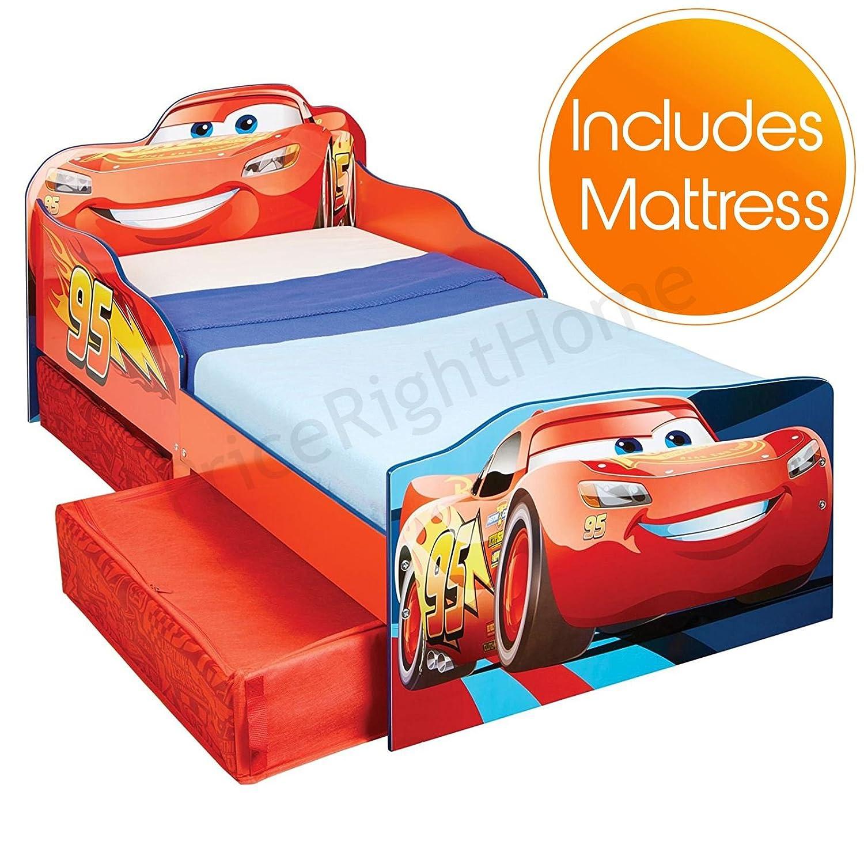 Pricerighthome Disney Cars Lightning McQueen Kinderbett mit Storage Plus-Foam-Matratze