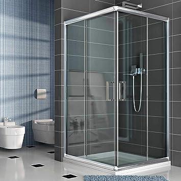 Cabina de ducha rectangular 70 x 100 H 185 transparente 6 mm ...