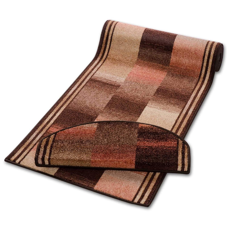 Casa pura Teppich Läufer Rost Gemustert   Qualitätsprodukt aus Deutschland   Gut Siegel   Kombinierbar mit Stufenmatten   3 Breiten und 27 Längen (100 x 475cm)