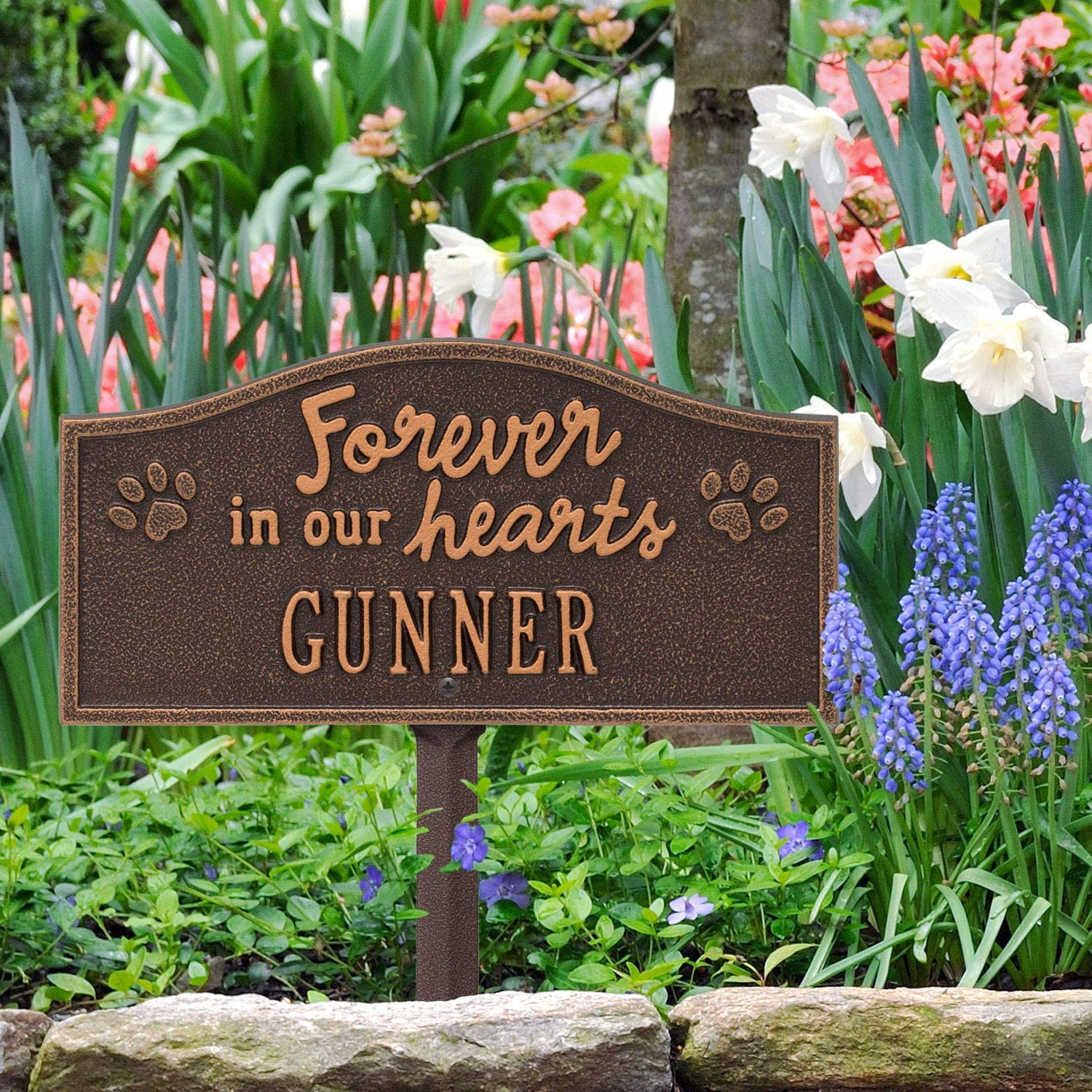 Custom Cast Aluminum Forever in Our Hearts Paw Print Dog or Cat Remembrance Garden Stake Grave Marker Whitehall Personalized Pet Memorial Yard Sign