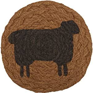 VHC Brands Heritage Farms Sheep Nature Print Textured Jute Primitive Tabletop Kitchen Stenciled Round Coaster Set of 6, Mustard Tan Yellow