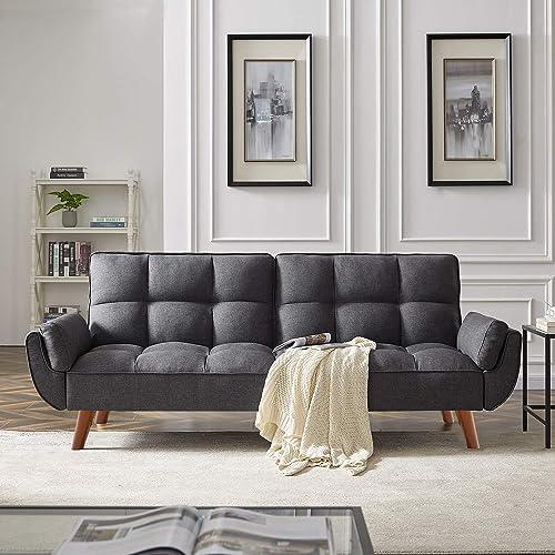 DKLGG Gray Futon Sofa Convertible Sleeper Bed