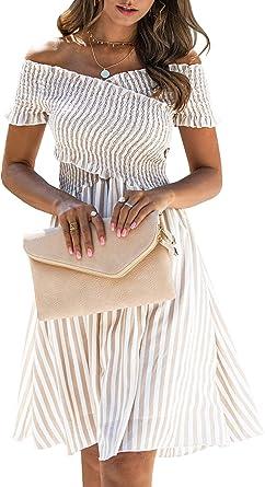 ECOWISH Womens Striped Dress Off The Shoulder Short Sleeve Backless Cocktail Skater Dresses