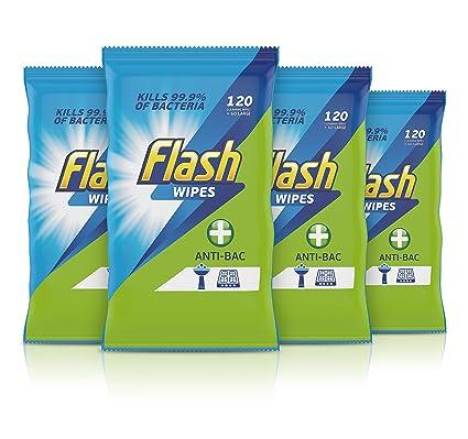 Flash multiusos Toallitas para rápido y potente limpieza, limón, 120 cuenta, pack de