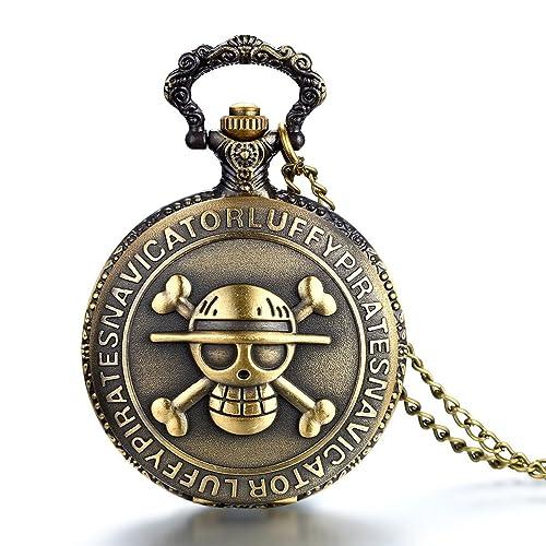 JewelryWe Reloj de bolsillo bronce retro, ONE PIECE Pirata Cráneo, reloj de bolsillo cuarzo