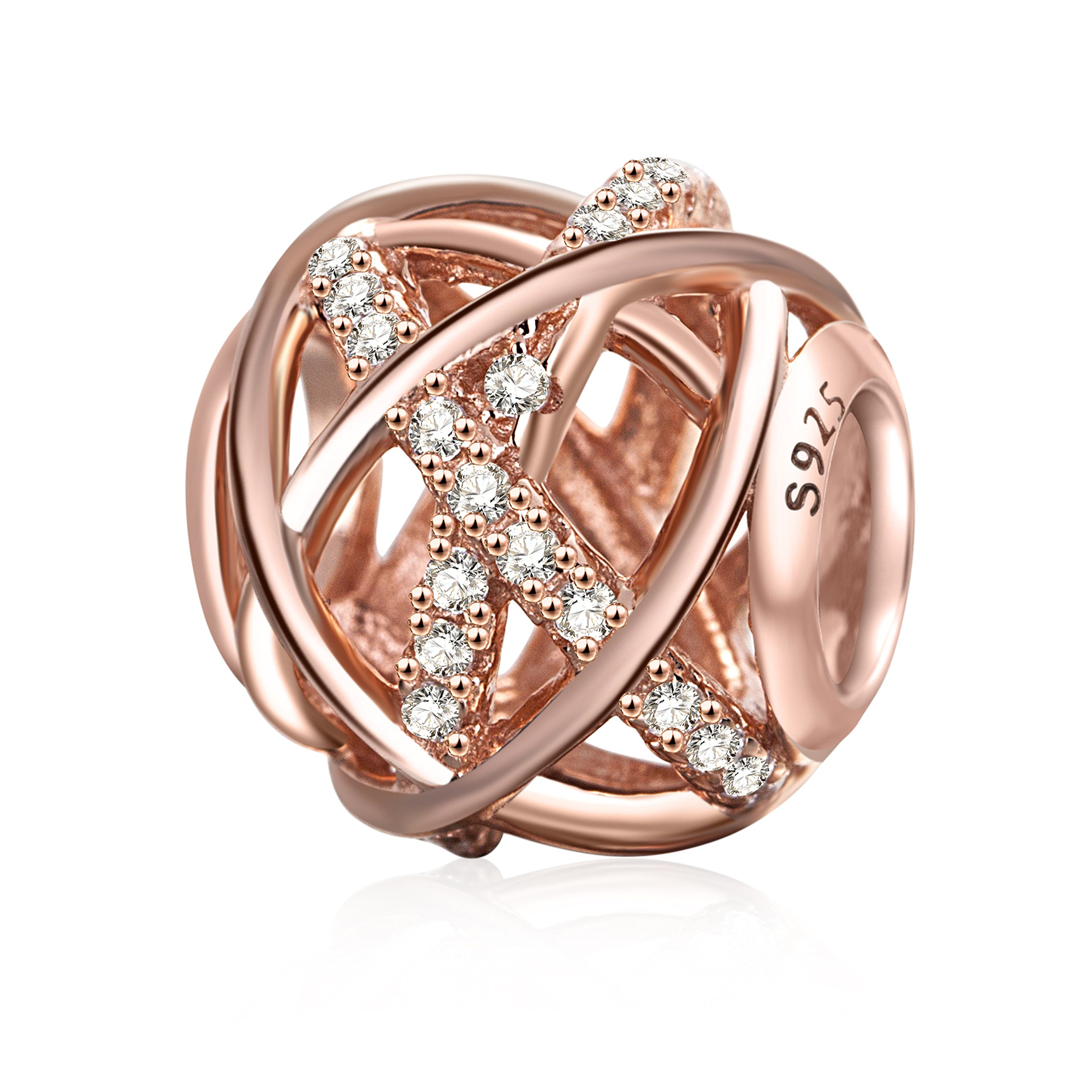 SOUKISS Rose Gold Galaxy Charm Authentic 925 Sterling Silver Openwork Charms with Clear CZ for European Bracelet by SOUKISS