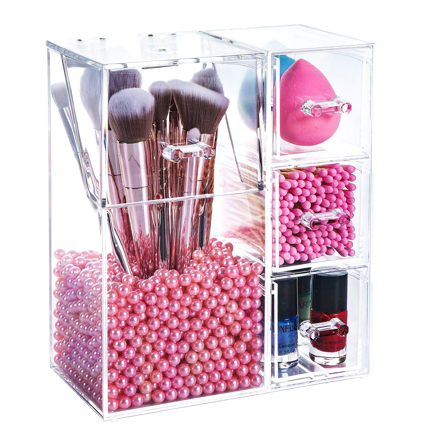 Yoelrsa Acrylic Makeup Box, Makeup Brush Holder with Lid and 3 Drawers, Waterproof and Dustproof Cosmetic Brush Organizer with Free Pearls, Used for the Dressing Table (XL+Drawers, Pink)