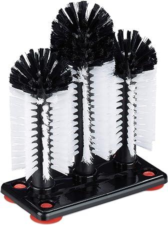 Relaxdays Cepillo Limpia Vasos con Ventosa, Lavavasos Hostelería ...