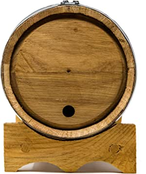 Premium Charred American Oak Aging Barrel (2 Liter) - No Engraving/Includes 12 page color barrel aged cocktail recipe booklet