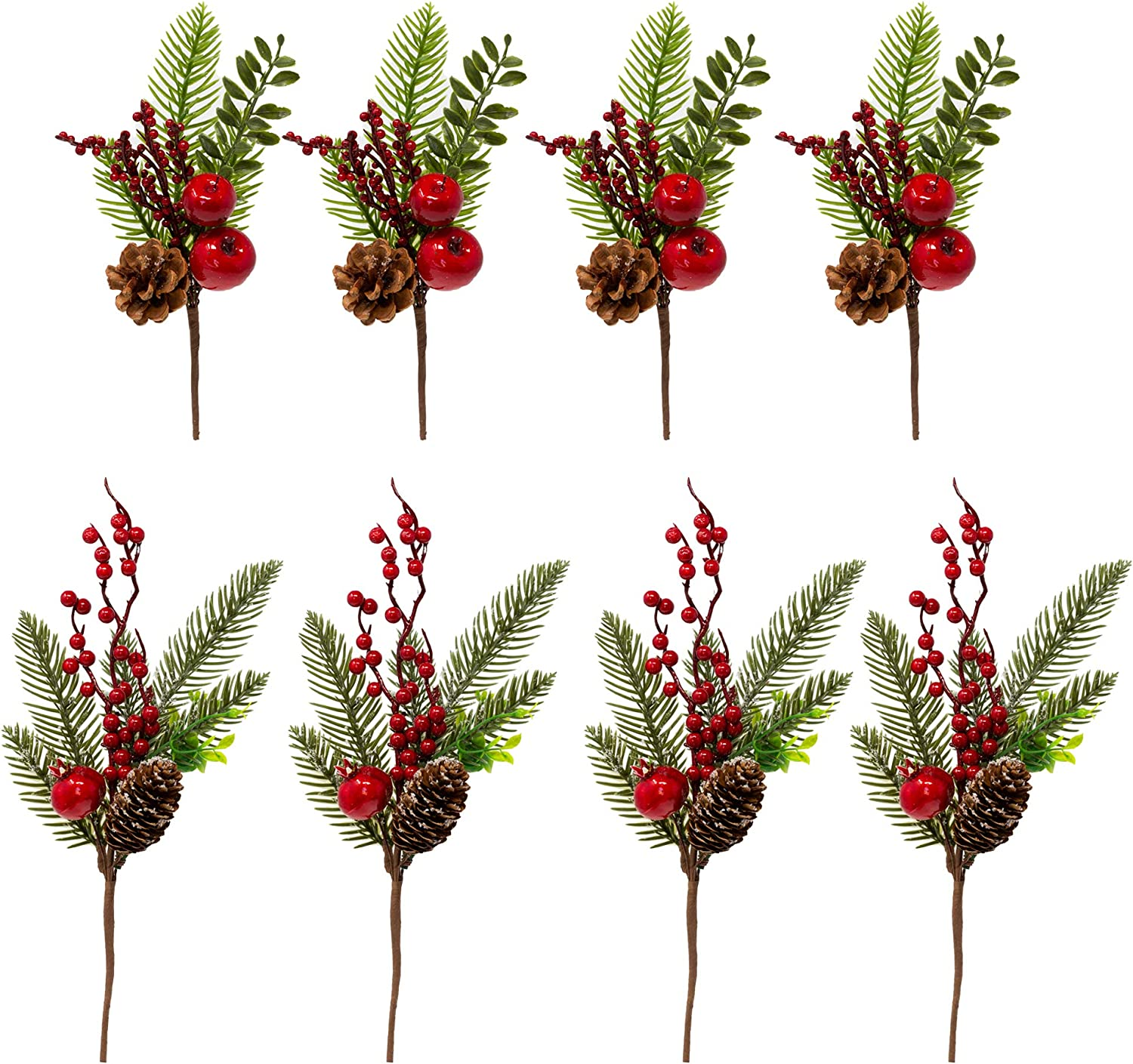BANBERRY DESIGNS Pine Snowy Flower Picks 8 Pieces – Snow Flocked Red Holly Berry Pine Cone Holiday Floral Sprays – DIY for Christmas Crafts Party Festive Home Décor…