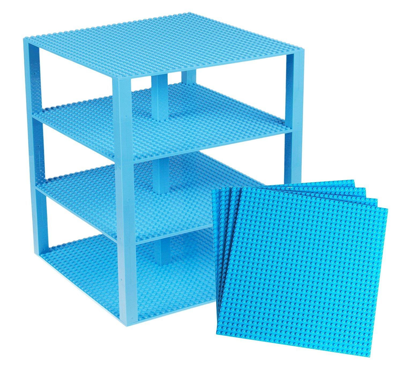 Stapelbare Premium-Bauplatten - inkl. neuen verbesserten Bausteinen mit 2 x 2 Noppen - kompatibel mit allen großen Marken - geeignet für Turm-Konstruktionen - Set aus 4 Platten - je 10 x 10 (25, 4 x 25, 4 cm) - Magenta Strictly Briks