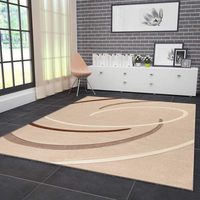 VIMODA Moderner Designer Teppich Kreisel Muster Handgeschnittene Konturen, ÖKO TEX Zertifiziert - Pflegeleicht, Farbe Beige Braun, Maße  200x290 cm