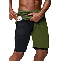 Pinkbomb Men's 2 in 1 Running Shorts Gym Workout Quick Dry Mens Shorts with Phone Pocket