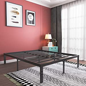 16 Inch Full Size Platform Bed Frame- Heavy Duty Strong Steel Bed Base- High Weight Capacity Sturdy Solid Metal Foundation- Easy Assemble/Noise Free/Non-Slip/Squeaky Free/No Box Spring Needed/Full