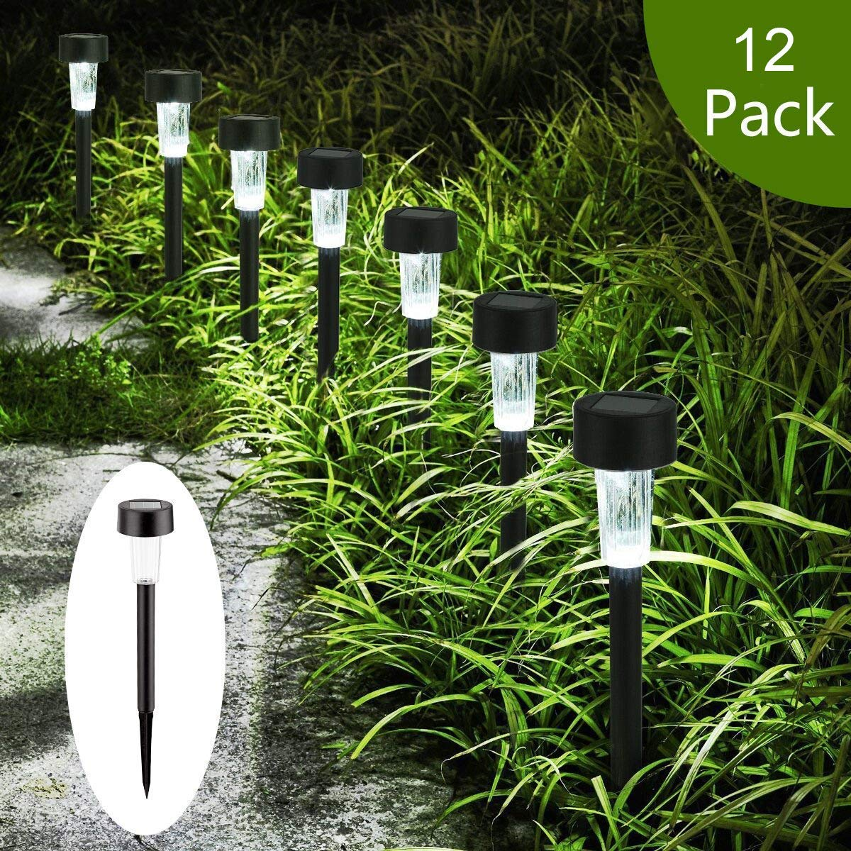 AMWGIMI Solar Pathway Lights - Solar Garden Lights Outdoor Solar Landscape Lights for Lawn, Patio, Yard, Walkway, Driveway Decorations (12 Pack) by AMWGIMI