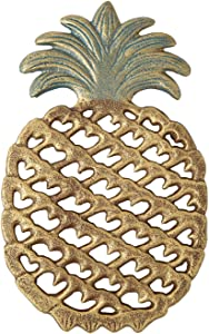 Cast Iron Pineapple Trivet - Decorative Cast Iron Trivet For Kitchen Or Dining Table - Vintage, Rustic Design - Protect your Countertop from Hot Dishes - With Rubber Pegs/Feet - Recycled Metal