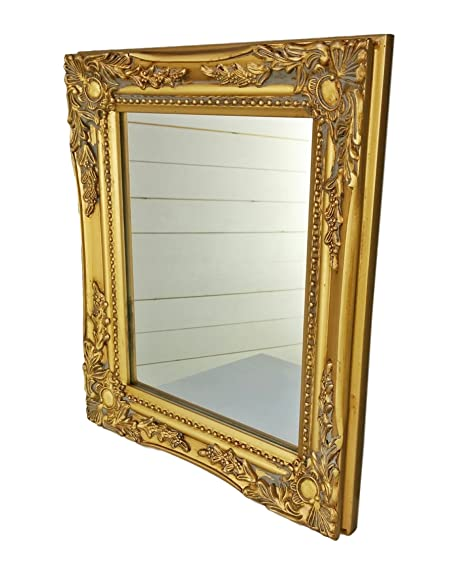 32x27x3cm espejo de pared rectangular, marcos antiguos de época hechos a mano de madera, oro, incl. Asamblea