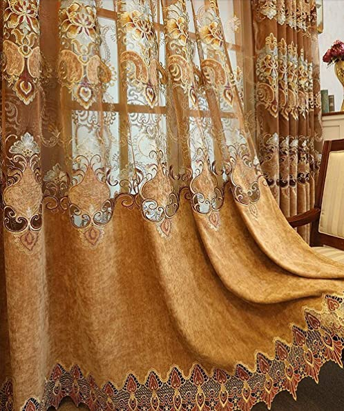 KMSG Brown Hollowed Exquisite European Embroidery Semi Blackout Curtains Grommet Top